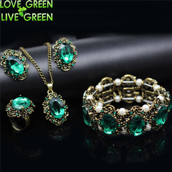 bridal wedding Austrian Crystal vintage bronze plated kate princess fashion Jewelry sets Necklace Earrings bracelet rings 1105