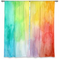 Window Curtains Unique | Marley Ungaro Artsy Rainbow Wash