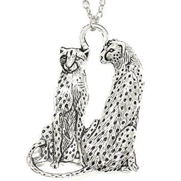 Cheetah Necklace Spotted Safari Cat African Silver Tone Pendant NP04 Fashion Jewelry