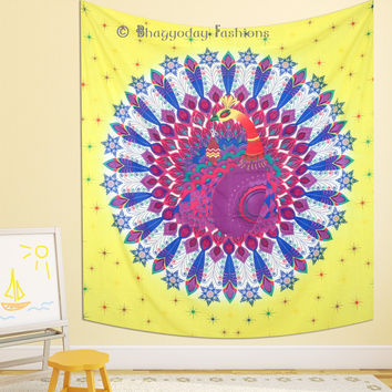Indian Beautiful Peacock Feather Mandala Wall Hanging Tapestry Hippie Bedspread Dorm Decor