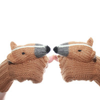 Knitted mittens dog bull terrier , biege gray and white mittens , Fingerless mittens , fingerless gloves , arm warmers
