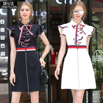 Summer New Style Tip Butterfly Sleeve High-end Bowknot Dresses Fashionable Women's Clothing A-Line Dress
