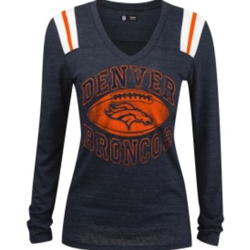 5th & Ocean Women's Denver Broncos Tri-Blend Foil Navy Long Sleeve T-Shirt | DICK'S Sporting Goods