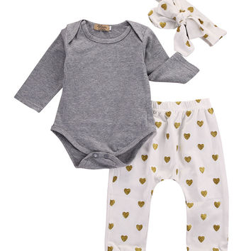 The new baby casual cotton long - sleeved gray jeans + gold dot pants headband 3PCS