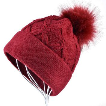 VONESC6 High quality Ladies winter hats for Women gorros girls beanies Solid Color Casual Knitted Cap Double layer plus velvet bonnet