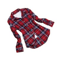 Juanshi Women's Check Flannel Shirt Color Red & White