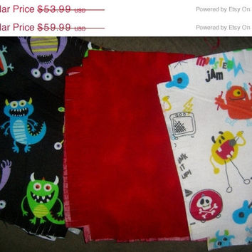 Monsters Flannel rag quilt kit fringed die cut fabric squares and batting complete ready to sew