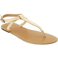 Women's Faux-Leather T-Strap Sandals