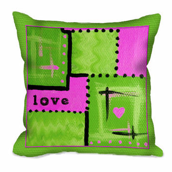 Abstract Love Art Throw Pillow in lime green and hot pink