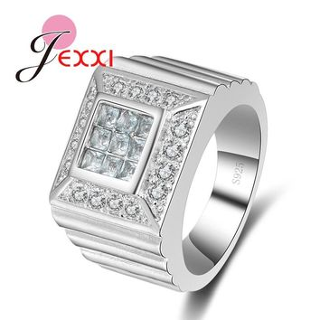 JEXXI Cool Finger Jewelry For Woman And Men 925 Sterling Silver Wide Band Rings For Bridal Wedding Engagement Party Accessory