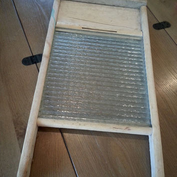 Vintage glass and wood washboard, rustic washing board, primitive houseware