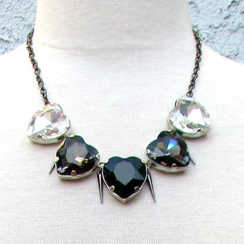 Spiked Monochromatic Hearts Necklace - Large Sparkling Crystal Heart Collar Necklace w/ Crystal, Black Diamond, & Jet Black Pendants