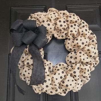 "18""  Natural and Black  Polka Dot  Burlap Wreath, wall wreath, door decor"
