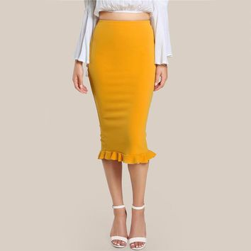 Split Ruffle Pencil Skirt Women Yellow Sexy Slim Elegant Work Summer Skirts High Waist Skirt