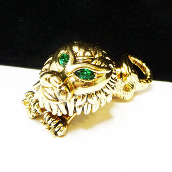 Trembler Lion  Brooch - Goldtone with Green Rhinestone Eyes - Vintage King of the Jungle