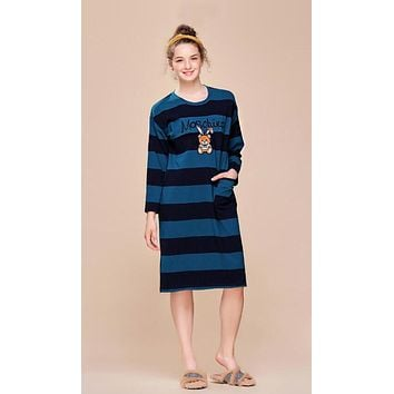 MOSCHINO New Popular Women Loose Cute Embroidery Cartoon Bear Print Long Sleeve Round Collar Blue Stripe Nightgown Skirt Dress I13427-1