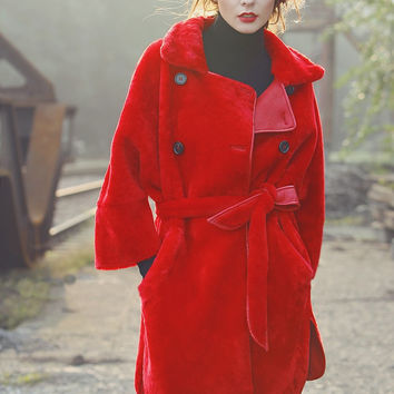 Red Faux Fur and Leather Reversible Coat