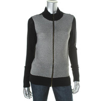 Charter Club Womens Knit Long Sleeves Full Zip Sweater