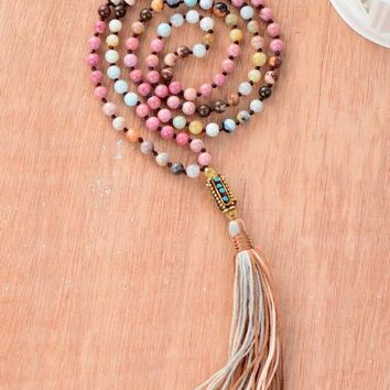 Women Necklace Mixed 6MM Natural Stone Long Tassel Necklace Boho Nepal Bead Yoga Womens Necklaces Jewelry Dropshipping