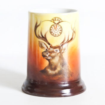 Antique Elks Club Tankard, 1900s Hand Painted Beer Mug BPOE Fraternal Coffee Cup, Tressemann Vogt, Hand Painted, T&V Limoges France