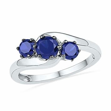 10kt White Gold Women's Round Lab-Created Blue Sapphire 3-stone Ring 1-1/2 Cttw - FREE Shipping (US/CAN)