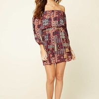 Abstract Floral Belted Dress