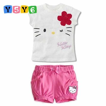 Retail 2018 children girls clothing set Summer hello kitty cute pajamas costume baby kids child cartoon clothes sets suits