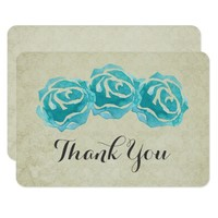 3 Teal Watercolor Roses on Tan Damask Thank You Card