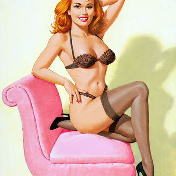 Pin-Up Girl Wall Decal Poster Sticker - Pin-Up in Lace, 1993 - Red Hair Redhead Pinup Pin Up