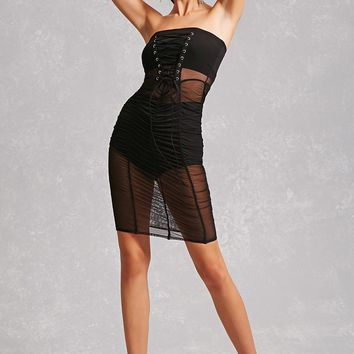 Sheer Ruched Tube Dress