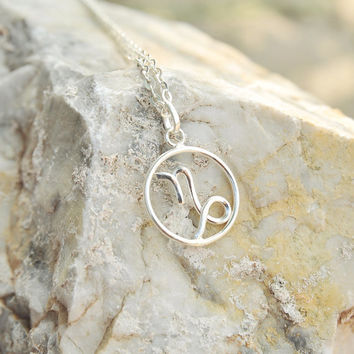 Silver Capricorn necklace, Horoscope jewelry zodiac sign pendant necklace astrology sign sterling silver 925 birthday gift