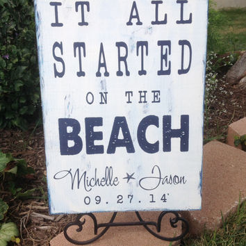 Personalized Beach Wedding Sign, Nautical Theme, It all Started on the BEACH, Beach Wedding, Personalized Wedding Gift