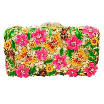New! designer bright-colored clutch bags flower butterfly evening bags Women crystal prom party purse studded bags