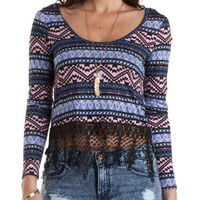 Lace-Trim Mixed Print Crop Top by Charlotte Russe