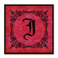 Alphabet J Red Canvas Print Black Frame Kids Bedroom Wall Décor Home Art