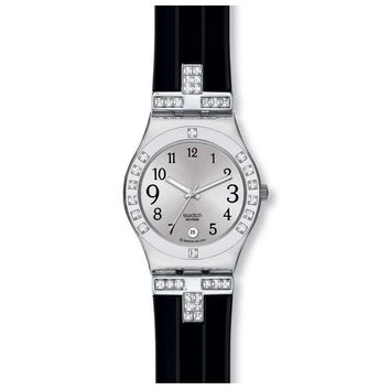Swatch YLS430C Women's Silver Dial Crystal Accents Black Rubber Strap Watch