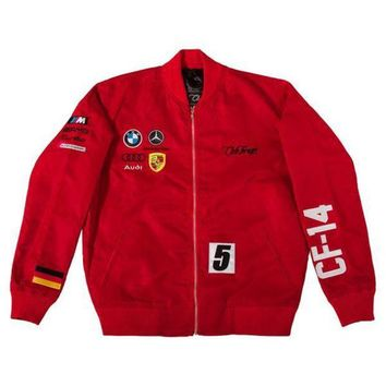 ONETOW Club Foreign Red Satin Racing Jacket