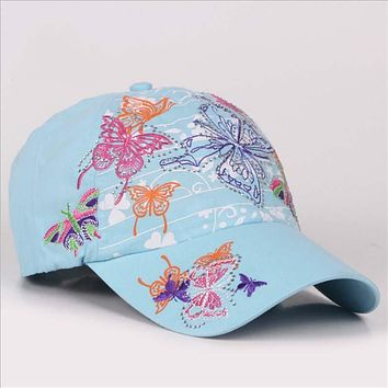 New 2017 Fashion Butterfly Embroidery Women Baseball Caps Snapback Hats Casual Summer Bone Cap For Women Hiphop Hat Casquette