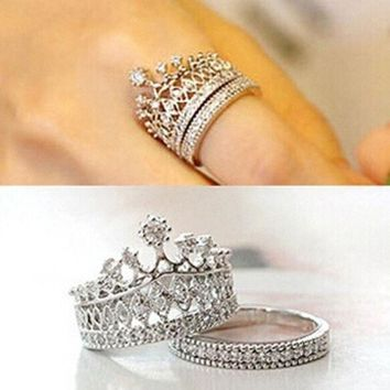 CREYXF7 Sweety girls fashion Jewelry Crown Rings Crystal Silver Gold Luxury Ring set