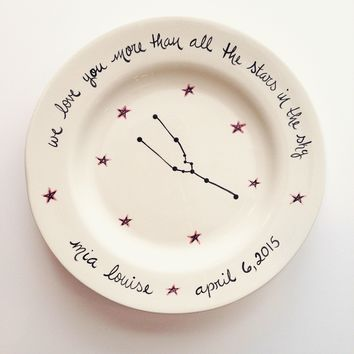 hand painted astrological sign baby birth plate