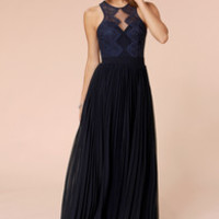 Bariano Luciana Navy Blue Lace Maxi Dress