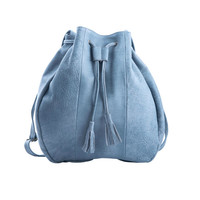 Tote Leather Bag Jeans color | Meckela