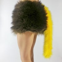 Yellow Tail- FREE SHIPPING -Fur Costume Tail Long Tail Yellow Costume Tail for Halloween, Raves, Cosplay, Costume Party