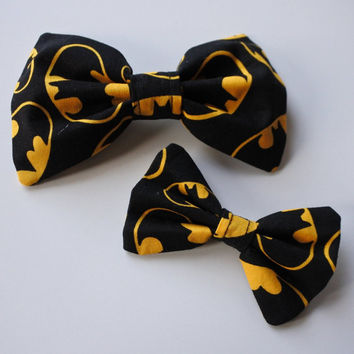 Cartoon Comic Book Superhero Batman DC Hero Bat Vigilante Justice League Nerd Geek Hair Clip Bow Tie