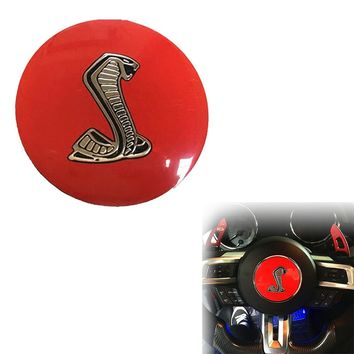 """3.35"""" Red Cobra Symbol Car Auto Decorative Steering Wheel Center Badge Decal Sticker for Ford Mustang Shelby (0334)"""