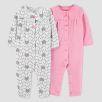Baby Girls' 2pk Heart/Stripe Jumpsuit Set - Just One You™ Made by Carter's® Pink/White