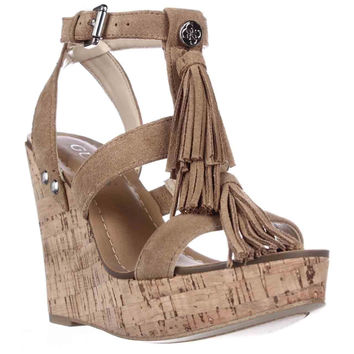 GUESS Heya Fringe T-Strap Wedge Platform Sandals - Dark Brown