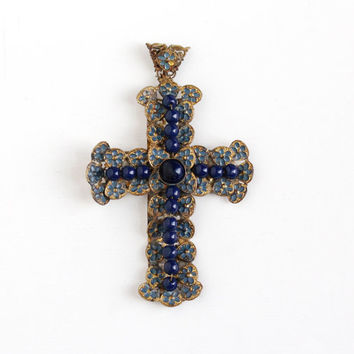 Antique Brass Filigree Blue Enamel & Bead Cross Pendant - Large Edwardian Vintage Religious Flower Navy Blue Glass Cabochon Pendant Jewelry