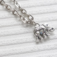 silver elephant necklace silver chain necklace elephant charm necklace handmade necklace fashion jewellery silver necklace for women gift