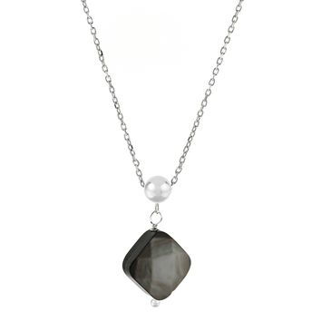 1 Grey Mother of Pearl Birthstone Pendant Necklace in 925 Sterling Silver